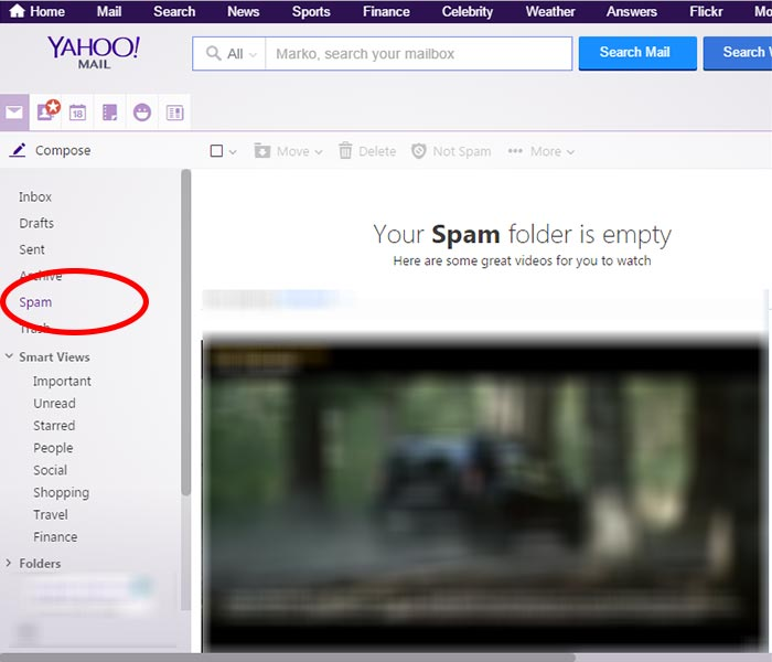 Spam folder Yahoo