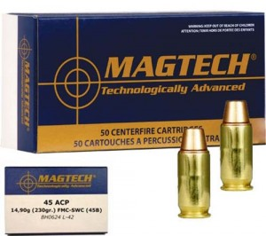Magtech .45 ACP FMJ SWC, 230grs